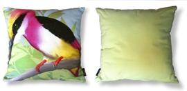 Cuscino d'uccello federa di velluto/cotone MARTIN PESCATORE ROSA-GIALLA