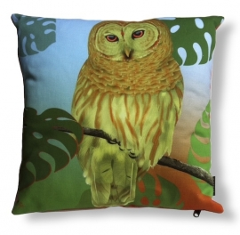 Bird cushion TROPICAL OWL cotton/velvet pillow cover