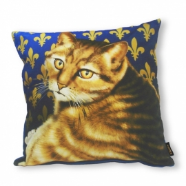 Cat throw pillow GOLDIE Blue gold velvet cushion cover