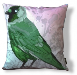 Bird cushion GREEN JACKDAW cotton/velvet pillow cover