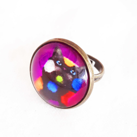 Cabochon ring cat PLAY CAT