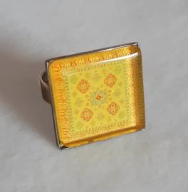 Cabochon ring SWEET CORN yellow