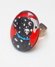 Cabochon ring dog PONGO