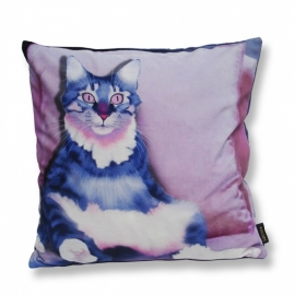 Cat throw pillow PINK EYE Lilac velvet cushion cover