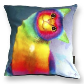 Cat throw pillow RAINBOW CAT Multicolor velvet cushion cover