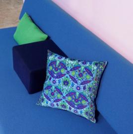 Sofa pillow Blue velvet cushion cover BLUE BINDWEED