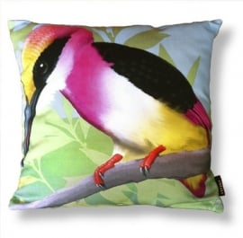 Bird cushion TEA ROSE KINGFISHER cotton/velvet pillow cover