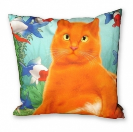 Cat throw pillow ORANGE KING Orange aqua velvet cushion cover