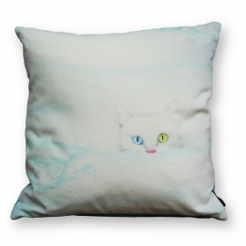 Cat throw pillow SNOW WHITE White velvet cushion cover