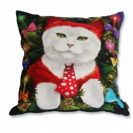 Cat throw pillow  PARTY ANIMAL Red white velvet cushion cover