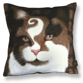 Cat throw pillow CHOCO PRINCE Brown velvet cushion cover