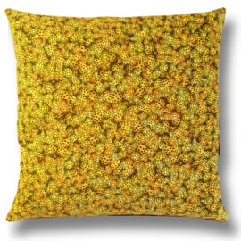 Sofa pillow Yellow velvet cushion cover LADYBIRD