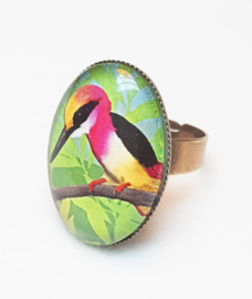 Cabochon ring bird TEA ROSE KINGFISHER