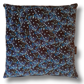 Sofa pillow Darkblue velvet cushion cover STARRY NIGHT BUTTERFLY