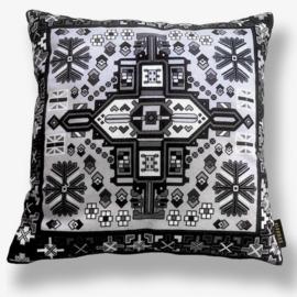Sofa pillow Black-grey-white velvet cushion cover ONYX