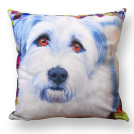 Dog throw pillow FRANKIE light blue velvet pillow case