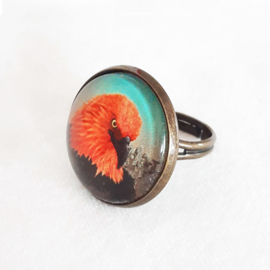 Cabochon ring bird FIRE EAGLE