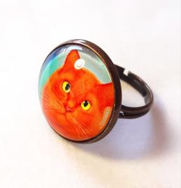 Cabochon ring cat ORANGE KING