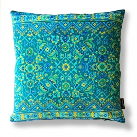 Sofa pillow Turquoise velvet cushion cover BLUE HAWAII