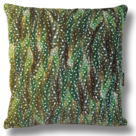 Sofa pillow Green velvet cushion cover POLKA DOT BEGONIA