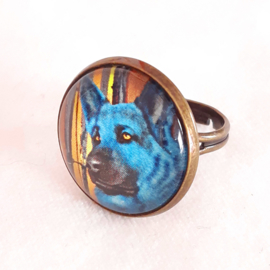 Cabochonring hond AZURO
