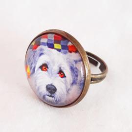 Cabochon ring dog FRANKIE