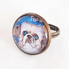 Cabochon ring dog SHIZI
