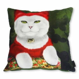 Cat throw pillow SANTA CAT Red white velvet cushion cover