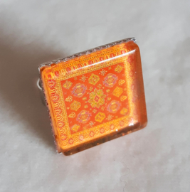 Cabochonring  MANDARIJN oranje