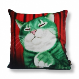 Cat throw pillow MR GREEN Red green velvet cushion cover