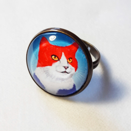 Cabochon ring cat KING CAT
