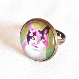 Cabochon ring cat MAYSA