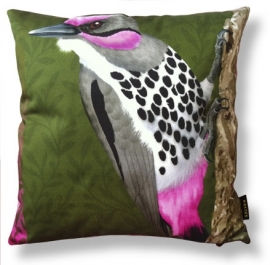 Bird cushion PINK CHEEK WOODPECKER cotton/velvet pillow coverer