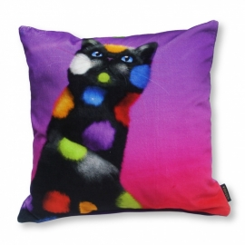 Cat throw pillow PLAY CAT Violet velvet cushion cover