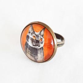Cabochon ring cat CALICO