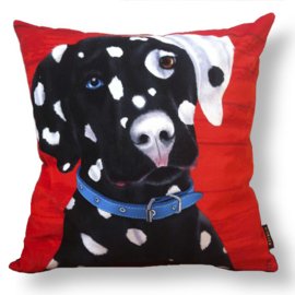 Dog throw pillow PONGO red-black velvet pillow case