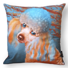 Dog throw pillow LADY orange-blue velvet pillow case