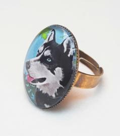 Cabochon ring dog IGOR