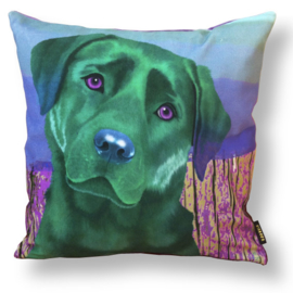 Dog throw pillow ESMERALDA green velvet pillow case