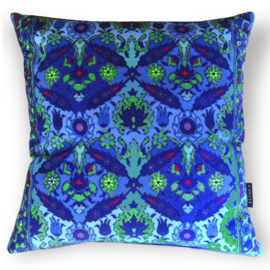Sofa pillow Blue velvet cushion cover BLUE BINDWEED