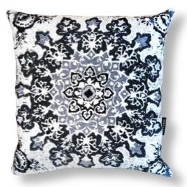 Sofa pillow Black-grey-white velvet cushion cover WINTER FLOWER