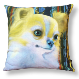Dog throw pillow BLONDIE yellow aqua pillow case