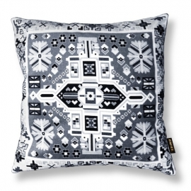 Sofa pillow Black-grey-white velvet cushion cover WHITE WAGTAIL