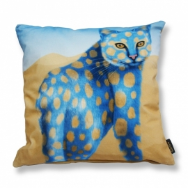 Cat throw pillow SAND  CAT Blue ochre velvet cushion cover