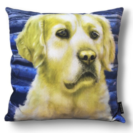 Cuscino decorativo Cane GOLDEN RETRIEVER  fodera in giallo blu