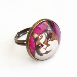Cabochon ring cat CHOCO PRINCE