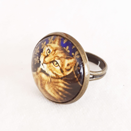 Cabochon ring cat GOLDIE