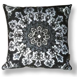 Sofa pillow Black-grey-white velvet cushion cover QUEEN OF NIGHT
