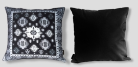 Sofa pillow Black-grey-white velvet cushion cover BLACK SWAN
