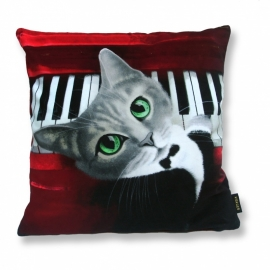 Cat throw pillow NORA Red grey black velvet cushion cover